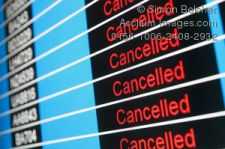 Airport Display Announcing Cancelled Flights Due to Volcanic Ash