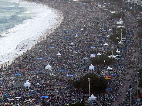 Catholic faithful camp out on Copacabana Beach in Rio de Janeiro