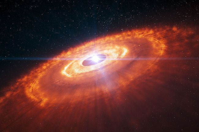 Artist's impression of a young star surrounded by a protoplane