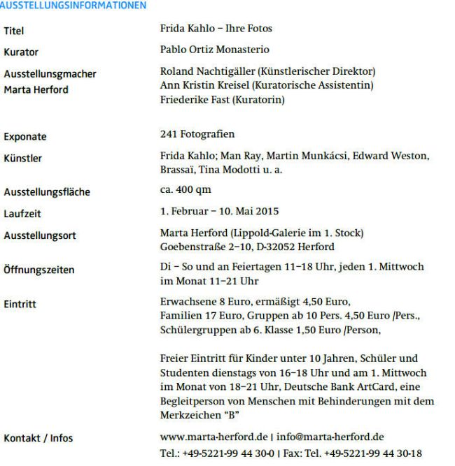 mexiko frida kahlo ausstellung im marta herford museum latinapress nachrichten. Black Bedroom Furniture Sets. Home Design Ideas