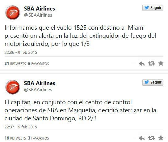 notlandung-tweet-domrep-feuer-triebwerk-venezuela